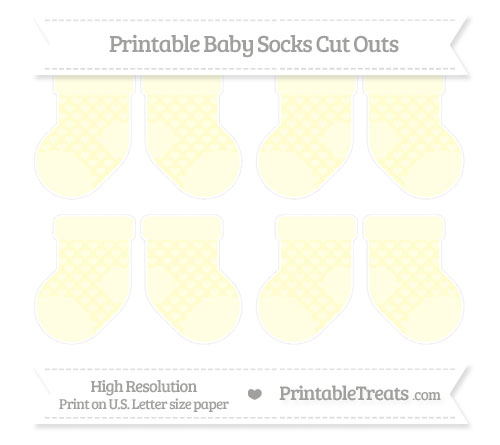 Free Cream Heart Pattern Small Baby Socks Cut Outs
