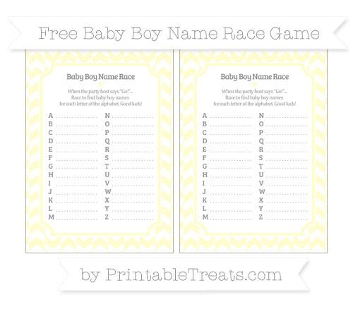 Free Cream Herringbone Pattern Baby Boy Name Race Game