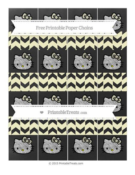 Free Cream Herringbone Pattern Chalk Style Hello Kitty Paper Chains