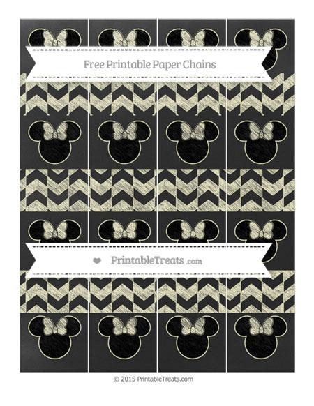 Free Cream Herringbone Pattern Chalk Style Minnie Mouse Paper Chains