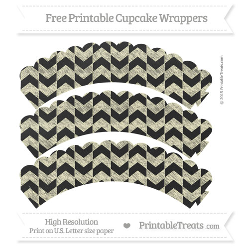 Free Cream Herringbone Pattern Chalk Style Scalloped Cupcake Wrappers