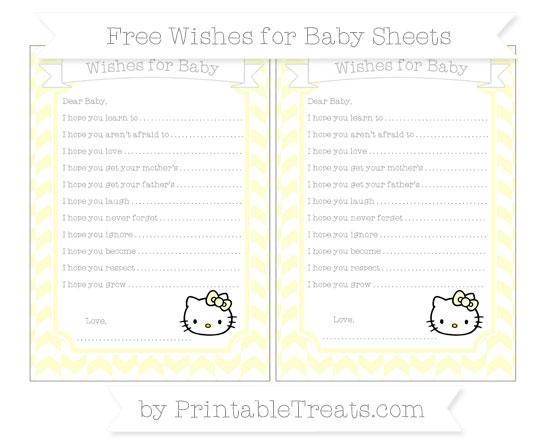 Free Cream Herringbone Pattern Hello Kitty Wishes for Baby Sheets