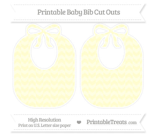 Free Cream Herringbone Pattern Large Baby Bib Cut Outs