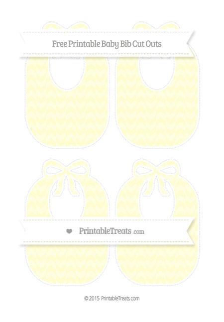 Free Cream Herringbone Pattern Medium Baby Bib Cut Outs