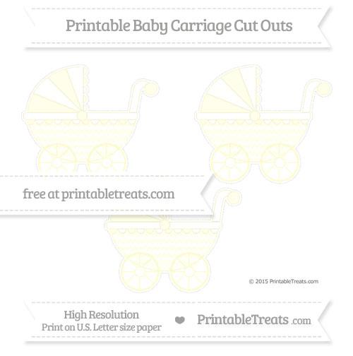 Free Cream Herringbone Pattern Medium Baby Carriage Cut Outs