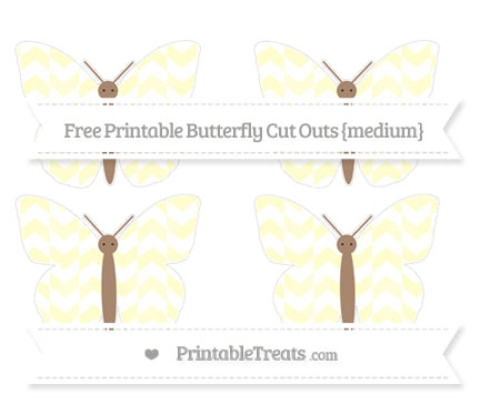 Free Cream Herringbone Pattern Medium Butterfly Cut Outs
