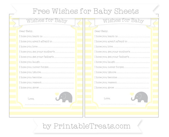 Free Cream Horizontal Striped Baby Elephant Wishes for Baby Sheets