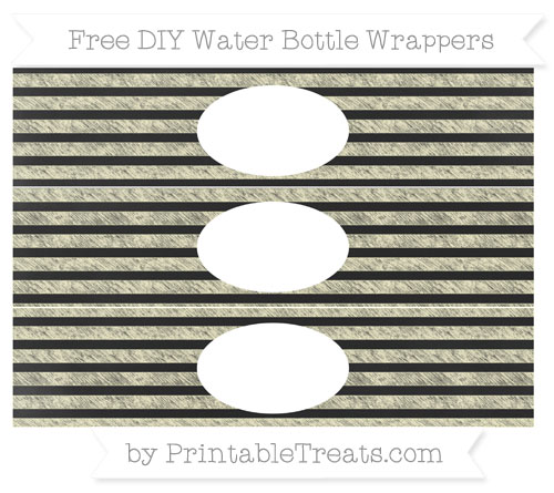 Free Cream Horizontal Striped Chalk Style DIY Water Bottle Wrappers