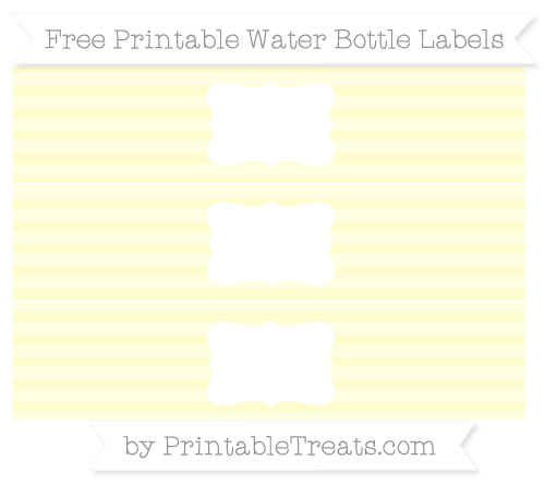 Free Cream Horizontal Striped Water Bottle Labels