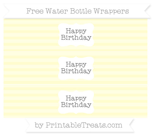 Free Cream Horizontal Striped Happy Birhtday Water Bottle Wrappers