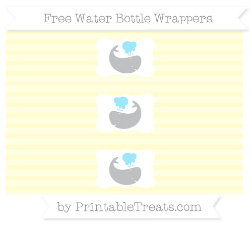 Free Cream Horizontal Striped Whale Water Bottle Wrappers