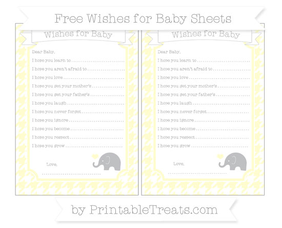 Free Cream Houndstooth Pattern Baby Elephant Wishes for Baby Sheets