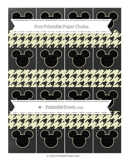 Free Cream Houndstooth Pattern Chalk Style Mickey Mouse Paper Chains