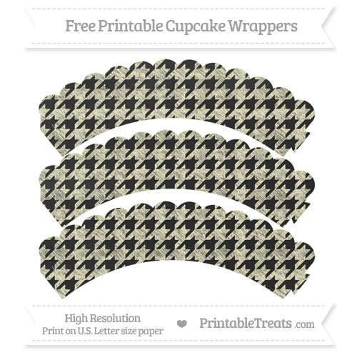 Free Cream Houndstooth Pattern Chalk Style Scalloped Cupcake Wrappers