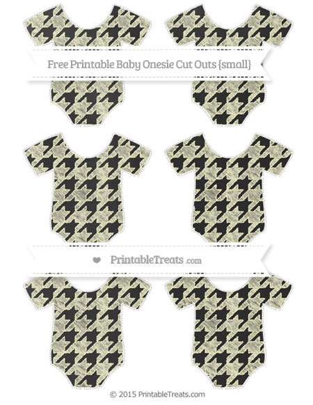 Free Cream Houndstooth Pattern Chalk Style Small Baby Onesie Cut Outs
