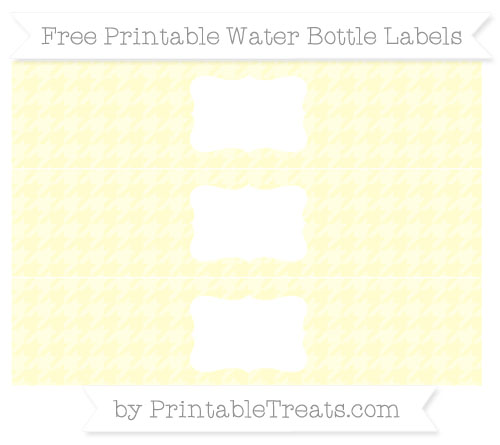 Free Cream Houndstooth Pattern Water Bottle Labels