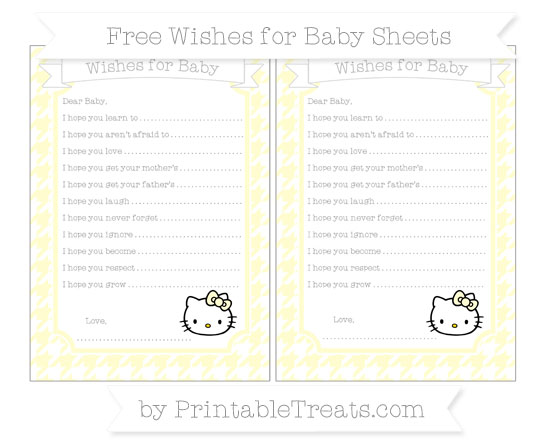 Free Cream Houndstooth Pattern Hello Kitty Wishes for Baby Sheets