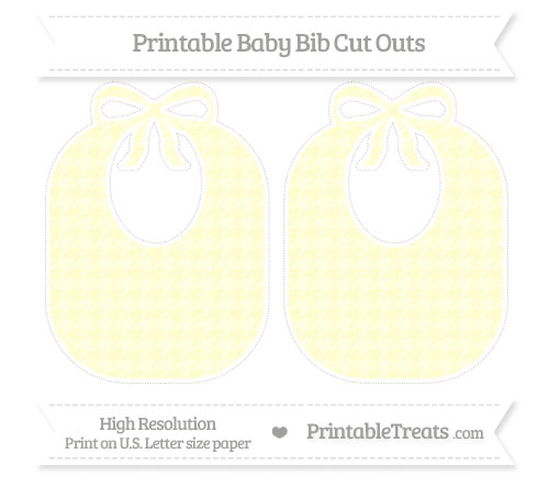 Free Cream Houndstooth Pattern Large Baby Bib Cut Outs