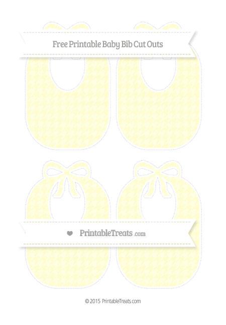 Free Cream Houndstooth Pattern Medium Baby Bib Cut Outs
