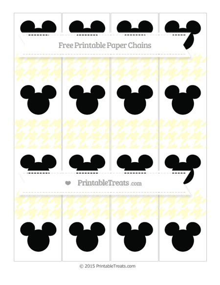 Free Cream Houndstooth Pattern Mickey Mouse Paper Chains