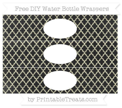 Free Cream Moroccan Tile Chalk Style DIY Water Bottle Wrappers