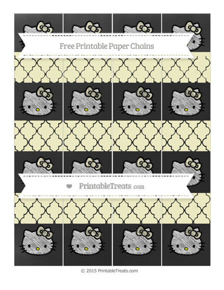 Free Cream Moroccan Tile Chalk Style Hello Kitty Paper Chains