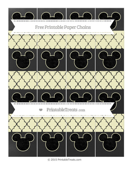 Free Cream Moroccan Tile Chalk Style Mickey Mouse Paper Chains