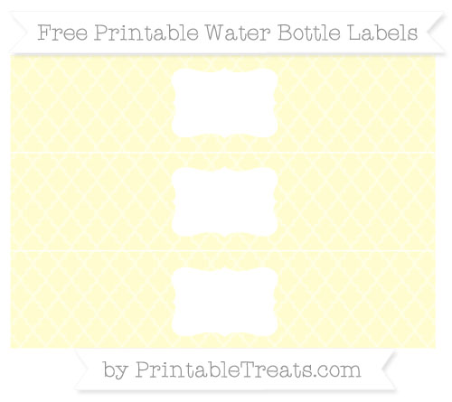 Free Cream Moroccan Tile Water Bottle Labels