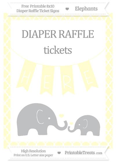 Free Cream Moroccan Tile Elephant 8x10 Diaper Raffle Ticket Sign