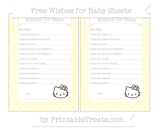 Free Cream Moroccan Tile Hello Kitty Wishes for Baby Sheets