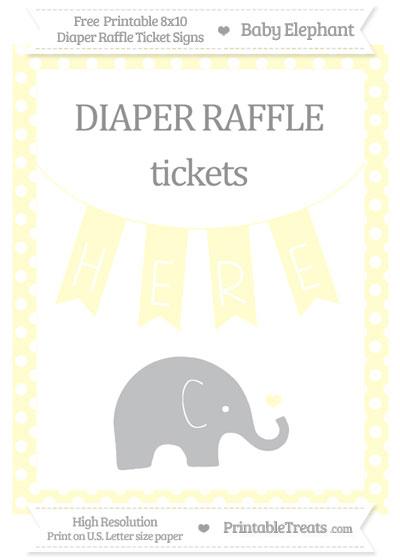Free Cream Polka Dot Baby Elephant 8x10 Diaper Raffle Ticket Sign