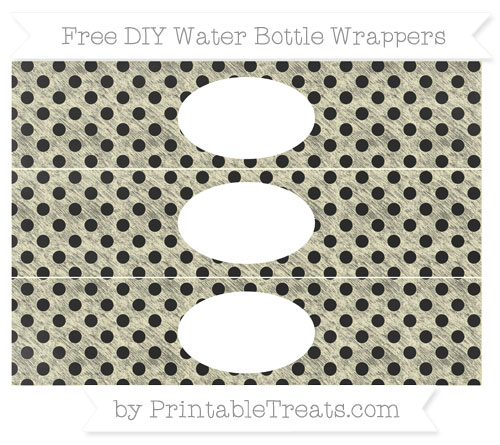 Free Cream Polka Dot Chalk Style DIY Water Bottle Wrappers