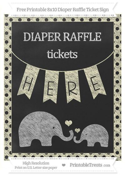 Free Cream Polka Dot Chalk Style Elephant 8x10 Diaper Raffle Ticket Sign