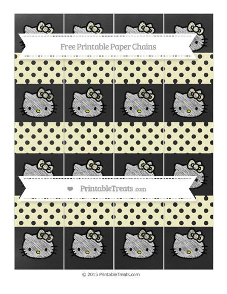 Free Cream Polka Dot Chalk Style Hello Kitty Paper Chains