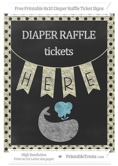 Free Cream Polka Dot Chalk Style Whale 8x10 Diaper Raffle Ticket Sign