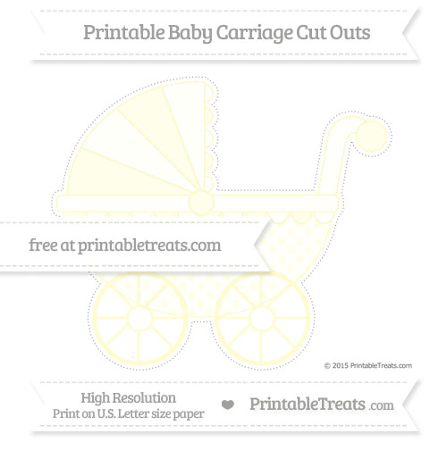 Free Cream Polka Dot Extra Large Baby Carriage Cut Outs