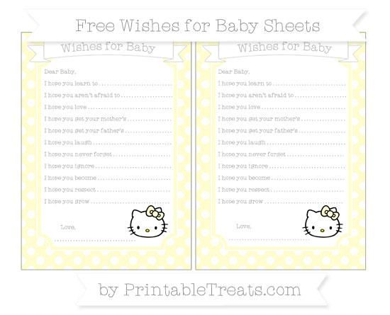 Free Cream Polka Dot Hello Kitty Wishes for Baby Sheets