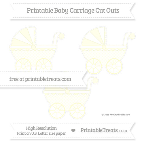 Free Cream Polka Dot Medium Baby Carriage Cut Outs