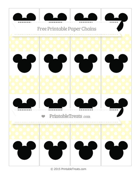 Free Cream Polka Dot Mickey Mouse Paper Chains