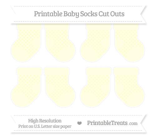 Free Cream Polka Dot Small Baby Socks Cut Outs