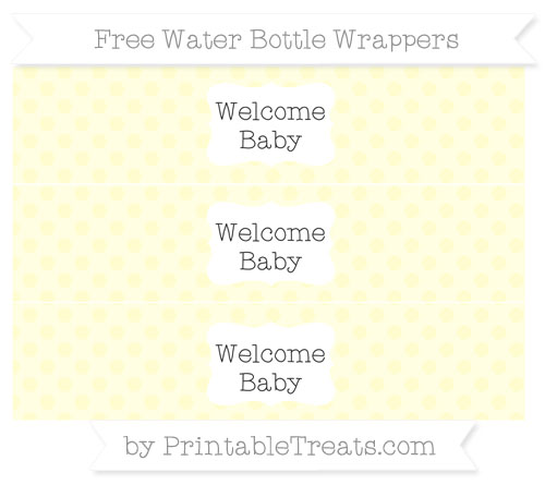 Free Cream Polka Dot Welcome Baby Water Bottle Wrappers