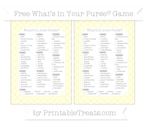 Free Cream Polka Dot What's in Your Purse Baby Shower Game