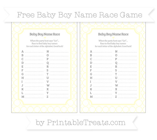 Free Cream Quatrefoil Pattern Baby Boy Name Race Game