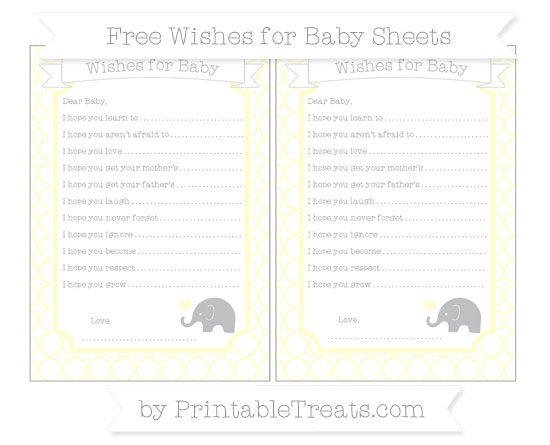 Free Cream Quatrefoil Pattern Baby Elephant Wishes for Baby Sheets