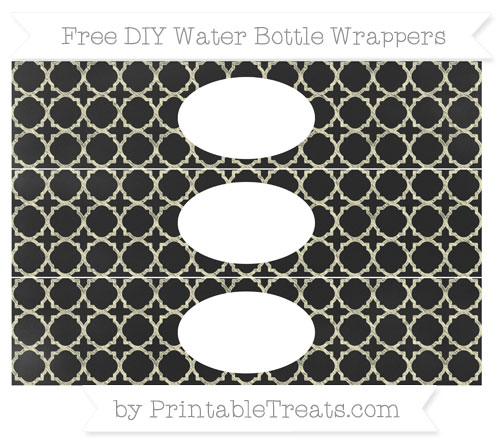 Free Cream Quatrefoil Pattern Chalk Style DIY Water Bottle Wrappers
