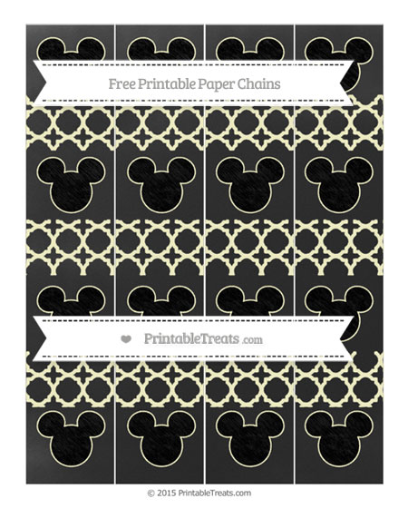 Free Cream Quatrefoil Pattern Chalk Style Mickey Mouse Paper Chains