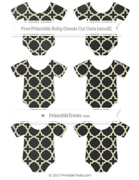 Free Cream Quatrefoil Pattern Chalk Style Small Baby Onesie Cut Outs