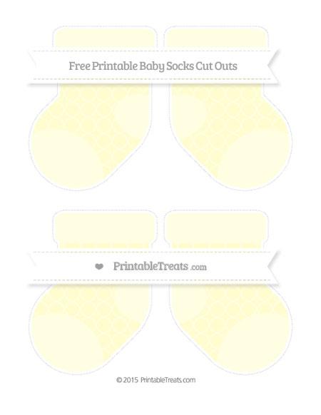 Free Cream Quatrefoil Pattern Medium Baby Socks Cut Outs