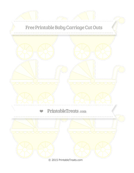 Free Cream Small Baby Carriage Cut Outs
