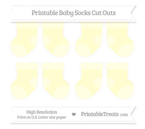 Free Cream Small Baby Socks Cut Outs